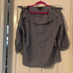 Checked wide collar top with bow